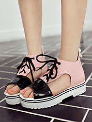 Women's Spring / Summer / Fall Peep Toe Leatherette Outdoor / Dress / Casual Platform Lace-up Pink / White / Orange