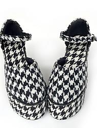 Gosurori Algodón 12 Tacón Cuña Negro Zapatos de Lolita