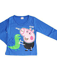 Girl's Blue / Red Tee,Cartoon Cotton Winter