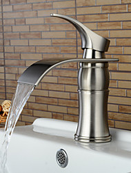 Widespread Single Handle One Hole Nickel Brushed Bathroom Sink Faucet