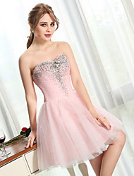 Cocktail Party Dress-Pearl Pink Ball Gown Sweetheart Short/Mini Tulle