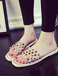 Women's Summer Comfort Leatherette Casual Flat Heel Rivet White