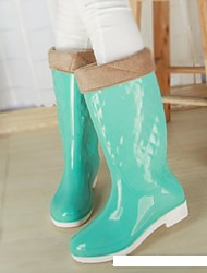 Women's Spring Summer Fall Winter Rain Boots Silicone Outdoor Low Heel Blue Yellow Green Pink