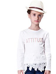 Girl's White Tee,Lace Cotton Spring / Fall