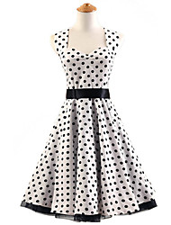 50s Era Vintage Style Halterneck Rockabilly Dress Cosplay Costume White Black Polka Dot (with Petticoat)