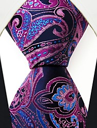 Q15  New Handmade Dress Men's Neckties Purple Paisley 100% Silk Business Jacquard Woven