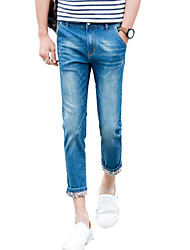 Nine young male jeans pants feet stretch pants Haren slim pants 9 Korean youth thin trend
