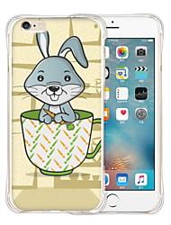 lapin dans une tasse de silicone transparent doux retour cas pour iphone 6 / 6s (couleurs assorties)