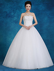 Ball Gown Wedding Dress Floor-length Strapless Lace / Satin / Tulle with Beading / Pearl / Sequin