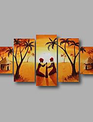Peint à la main Abstrait / Paysage / Paysages AbstraitsModern Cinq Panneaux Toile Peinture à l'huile Hang-peint For Décoration d'intérieur