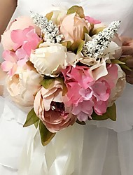 """Wedding Flowers Round Peonies Bouquets Wedding / Party/ Evening Pink / White / Purple Satin 9.84""""(Approx.25cm)"""