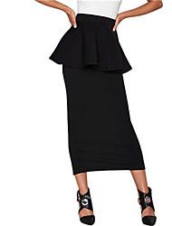 Jupes Aux femmes Midi Street Chic Polyester Non Elastique