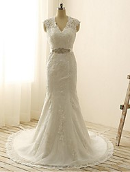 Trumpet / Mermaid Wedding Dress Court Train V-neck Lace with Appliques / Bow / Lace / Sash / Ribbon