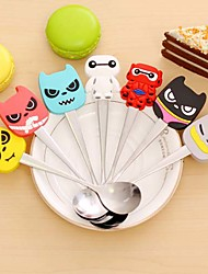 Kawaii Stainless Steel Silicone Cartoon Character Spoon Children Kid  Soup Coffee Spoon Dinnerware