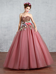 Princess Wedding Dress Wedding Dresses in Color Floor-length Sweetheart Lace / Tulle with Appliques / Beading / Flower / Pearl