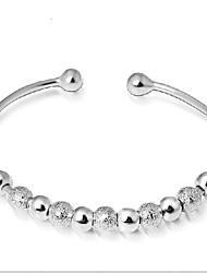 Women's Bracelet Sterling Silver Plated Shining Lucky Beads Cuff Bracelet Wedding Bride