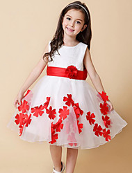 A-line Knee-length Flower Girl Dress-Chiffon / Lace Sleeveless