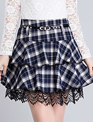 Women's Ruffle Plaid Blue Red Skirts,Casual Day Simple Above Knee