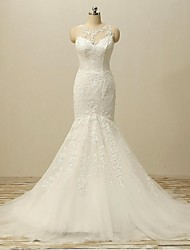 Fit & Flare Wedding Dress Court Train Jewel Lace / Tulle with Appliques / Beading / Button / Lace