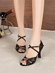 Customizable Women's Dance Shoes Latin / Jazz / Swing Shoes / Salsa / Samba Satin Customized Heel Black / Other