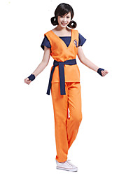 Inspired by Dragon Ball Son Goku Anime Cosplay Costumes Cosplay Suits Print Orange Short Sleeve Top / Pants / Belt