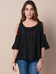 Women's Solid White / Black Blouse,Off Shoulder ¾ Sleeve