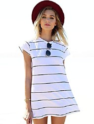 Women's  Color Block Simple / Street chic Classic Striped All Match Casaul Loose Dress,Round Neck Mini