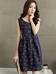 Women's Casual / Day Polka Dot Loose Dress , U Neck Mini Polyester