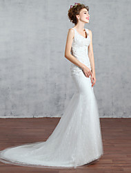 Trumpet/Mermaid Wedding Dress-Court Train V-neck Lace / Sequined