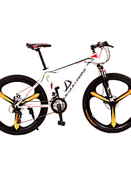 Dequilon Warriors 26-inch mountain bike double disc brakes bicycle shifting Mito white and red 21-speed enhanced version