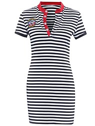 Women's Vintage / Street chic Striped  Classic Slim Over Hip Sheath Dress,Shirt Collar Above Knee