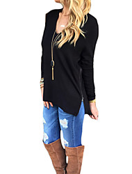 Women's Casual/Daily Street chic Summer T-shirt,Solid Round Neck Long Sleeve Black Cotton Opaque