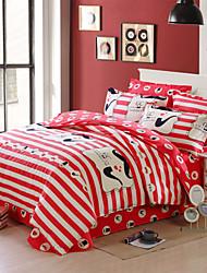 Red striped 100% Cotton Bedclothes 4pcs Bedding Set Queen Size Duvet Cover Set