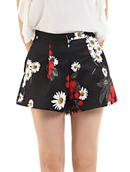 Women's Floral Blue / Black Shorts Pants,Casual / Day