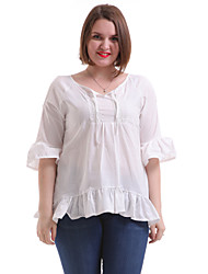Women's Casual/Daily Simple Summer Blouse,Solid Round Neck ¾ Sleeve White / Black Polyester Thin