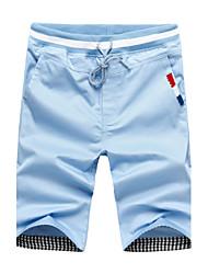 Masculino Shorts Masculino Cor Solida Casual / Tamanhos Grandes Algodão / Poliéster