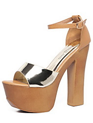 Women's Shoes Patent Leather Chunky Heel Heels Sandals / Heels Party & Evening / Dress / Casual Black / Gold