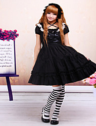 Steampunk®Cotton Black Lace Classic Lolita Dress