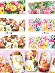 4sheets New Charm Real Rose Nail Art Flower Stickers Water Transfer Full Wraps Foils Decorations of Nail Decals Tools