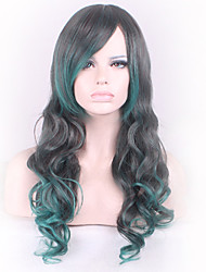 Black Mixed Green COSPLAY Long Straight Hair Synthetic Wig