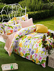 Flower Yin Month, Full Cotton Reactive Printing Pastoral Flowers Bedding Set 4PC, FULL Size