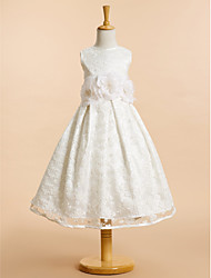 Lanting Bride A-line Tea-length Flower Girl Dress - Lace Sleeveless Scoop with Bow(s) / Flower(s) / Lace