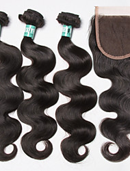 4st / lot jungfruligt brasilianskt kroppen våg hårförlängningar 3 buntar obearbetat människohår väv med 1st spets stängning