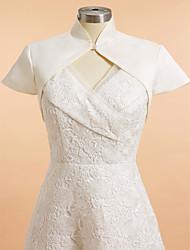 Wedding  Wraps Shrugs Short Sleeve Satin Ivory Wedding / Party/Evening High Neck Clasp