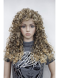 "Sexy Brown mix Golden Blonde Highlight Tip Curly 22"" Long Synthetic Hair Full Women's Daily Wig"