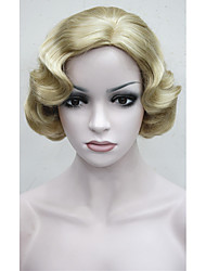 Retro wig short Vintage FingerWaves Blonde wave Synthetic Hair Wig with SKIN TOP free shipping