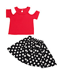 Girl's Red Clothing Set,Dot Cotton All Seasons
