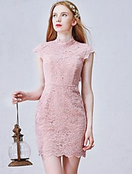 Vestido de Dama de Honor-Rosa Funda/Columna Joya-Corta/Mini Encaje
