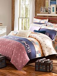 Good fabric snowflowers 100% Cotton Bedclothes 4pcs Bedding Set Queen Size Duvet Cover Set