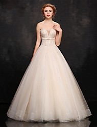Princess Wedding Dress-Champagne Floor-length Strapless Tulle